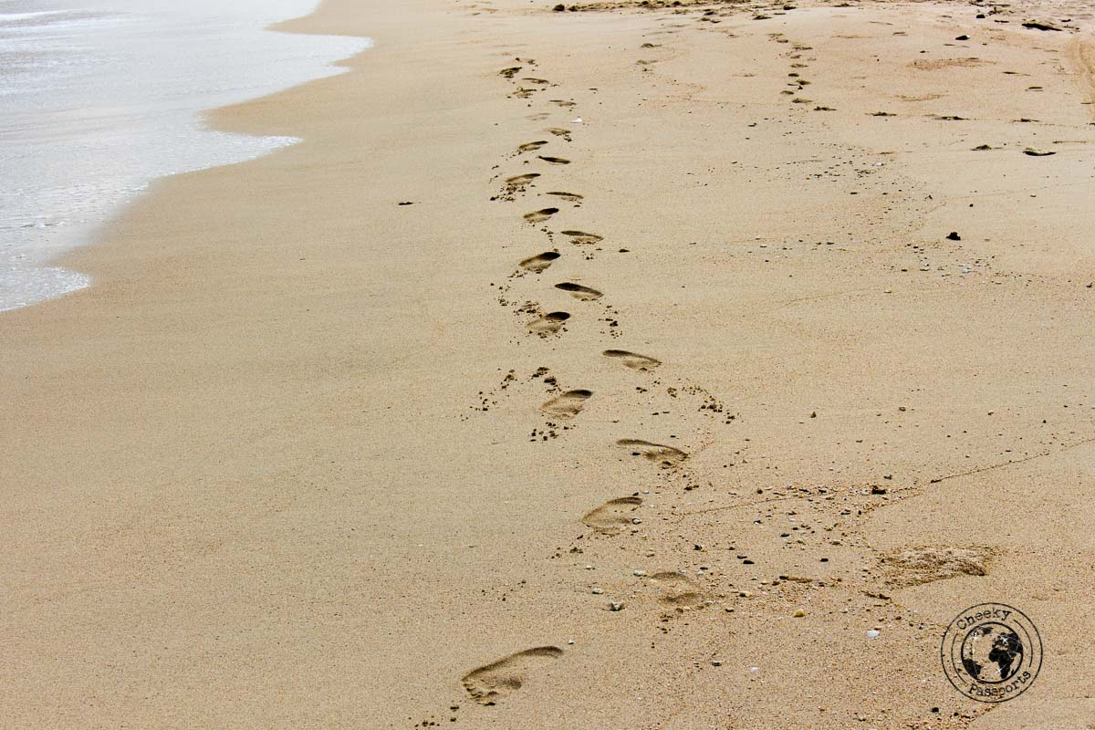 Footsteps on the sand of Andaman