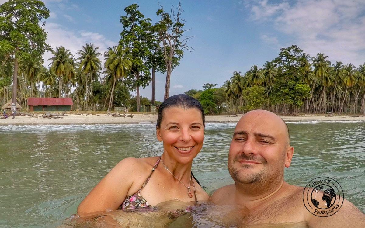 Having a dip at Blue planet beach in Long Island