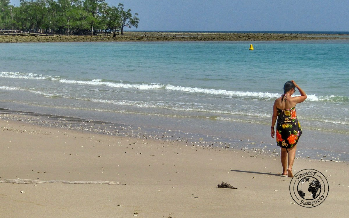 Michelle enjoying a stroll at the beach in Long Island, one of the top places to visit in Andaman