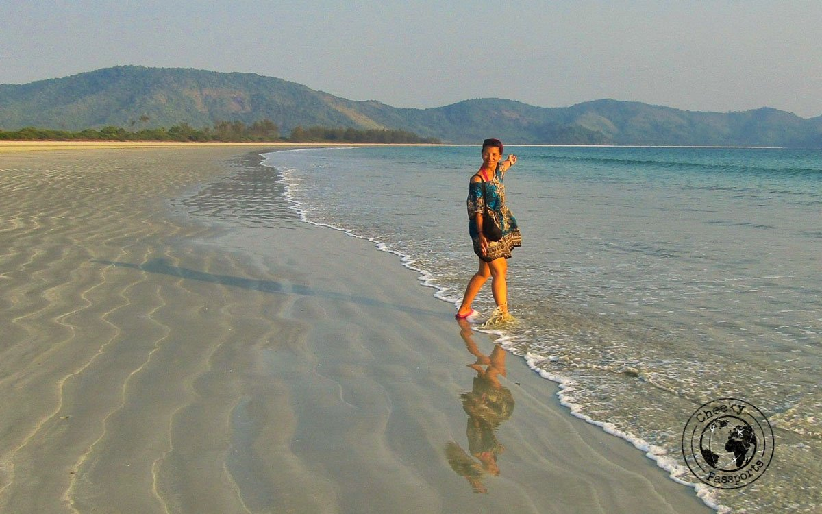 Michelle off for a dip in the beaches of dawei