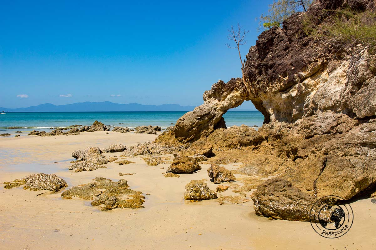 Rock formations of Ao Kao Kwai beach in Koh Phayam