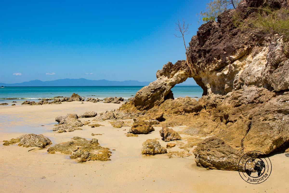 Rock formations of Ao Kao Kwai beach in Koh Phayam