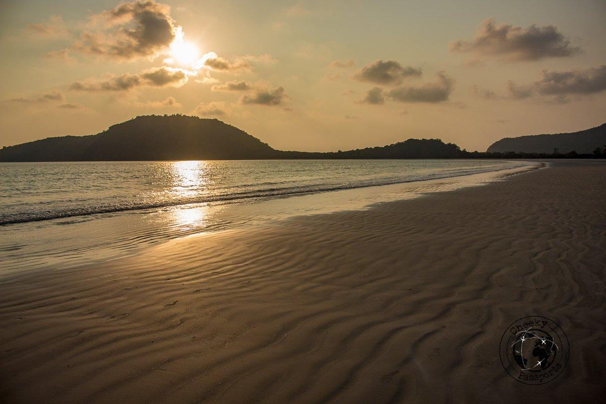 Sunset over grandfather beach in Dawei