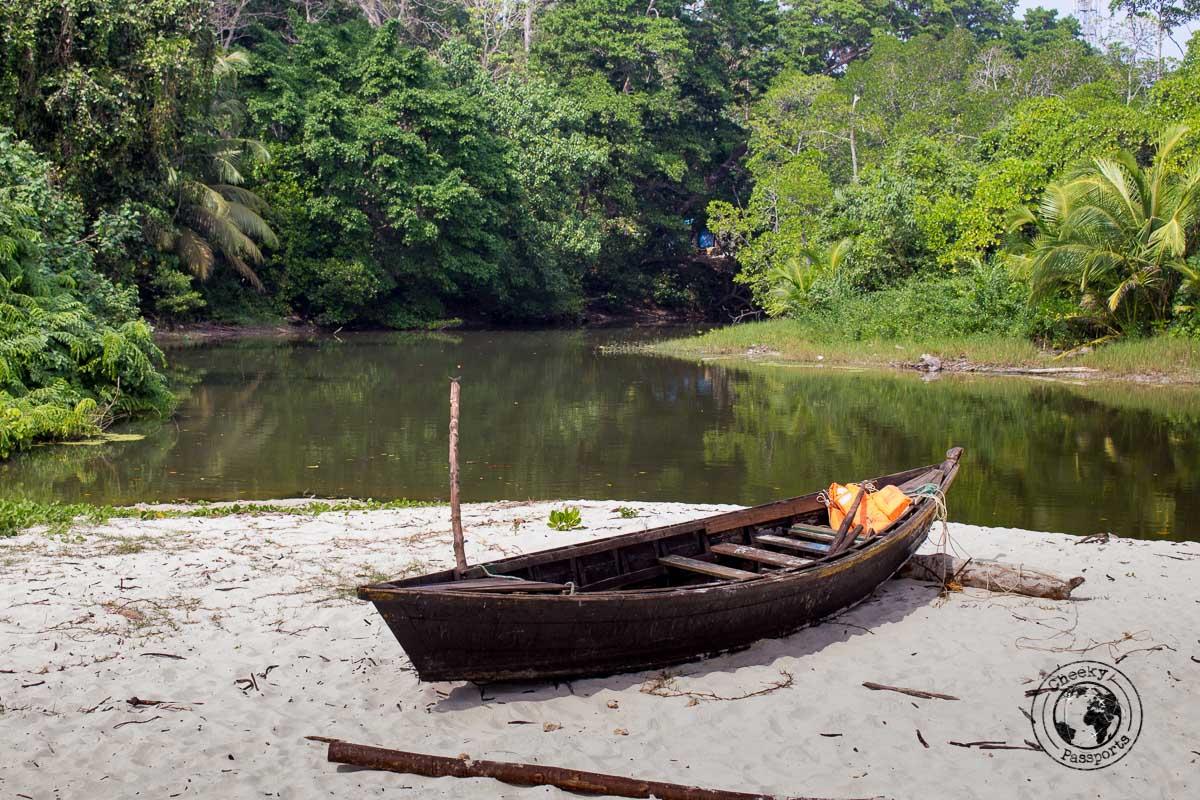 small fishing boat laying on Radhanagar beach in Havelock