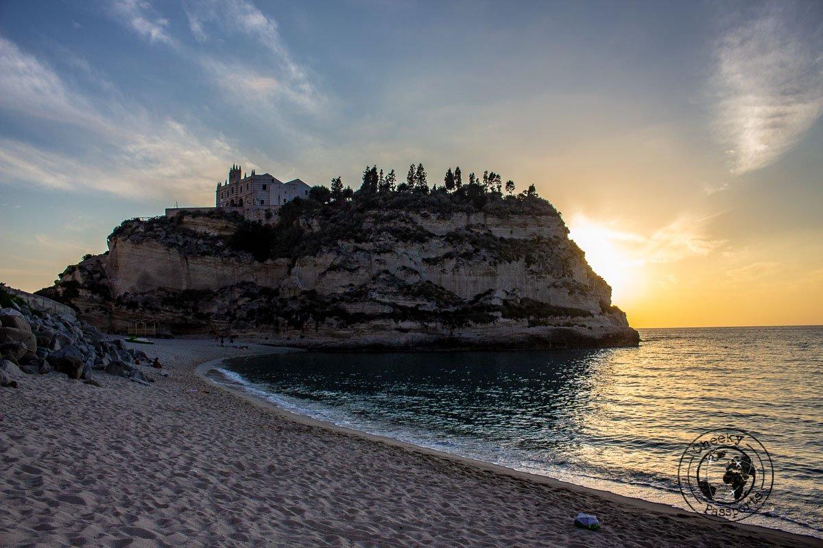 Sunset over Santuario di Santa Maria dell'Isola di Tropea in Calabria