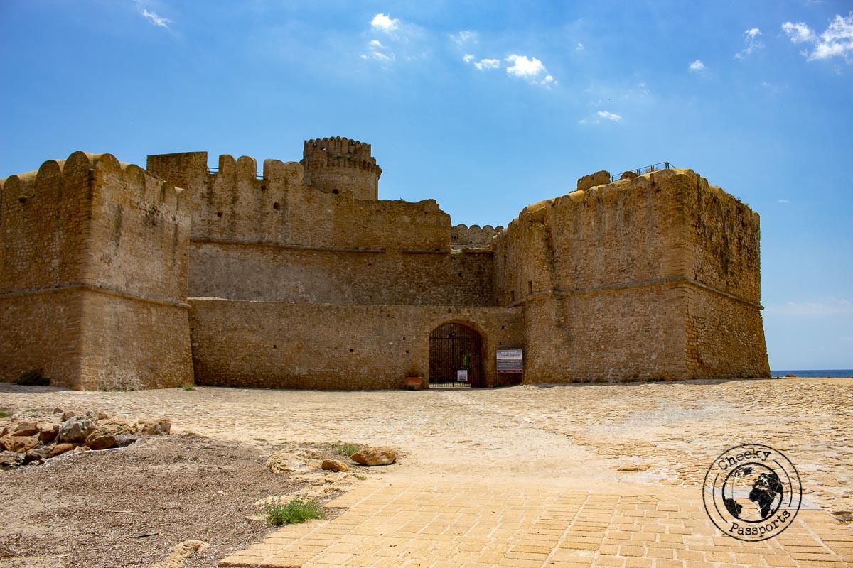 The side of the Castello Aragonses in Le Castella, Crotone
