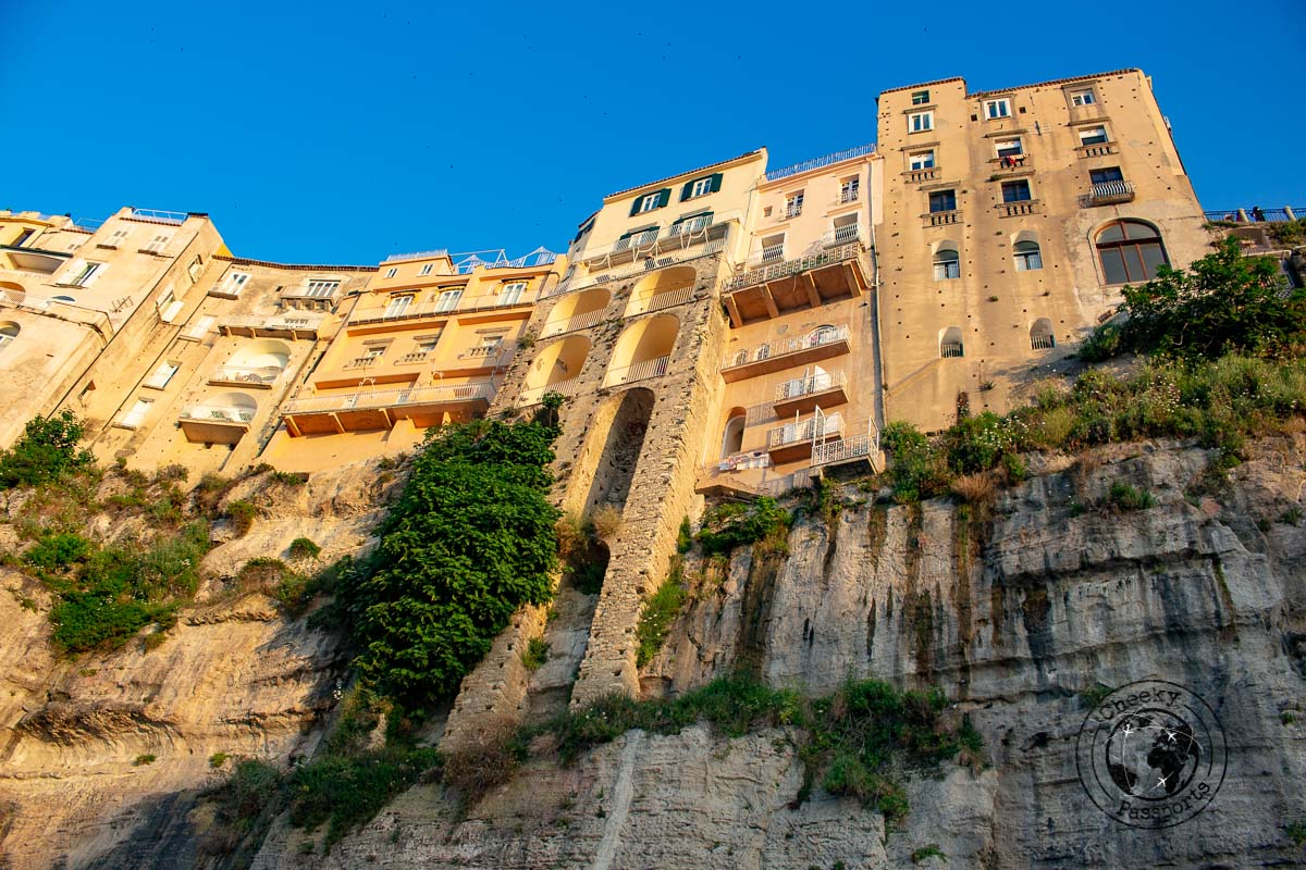 Tall buildings on the ledge of Tropea