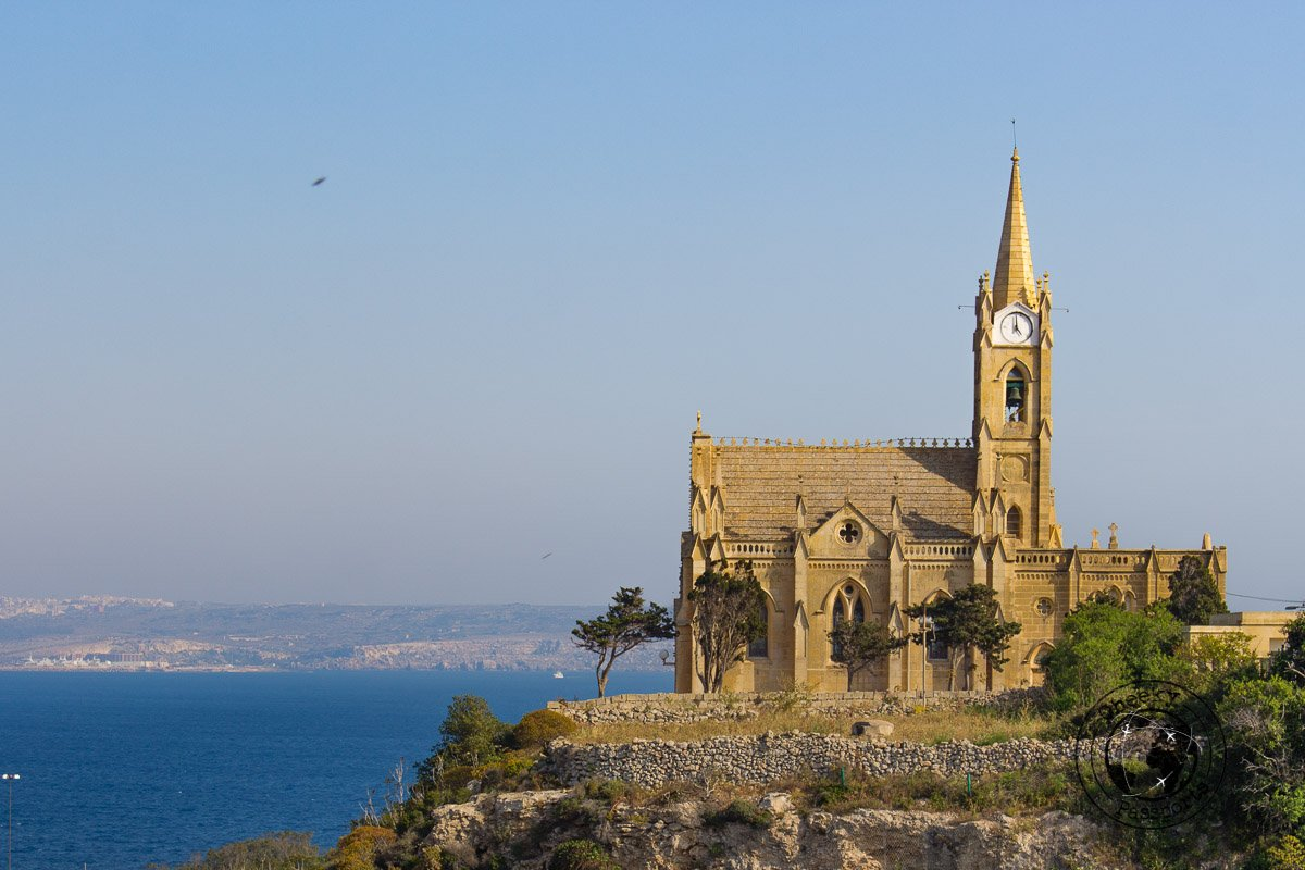 Church of the Madonna of Lourdes in Ghajnsielem overlooking Mgarr Harbour in Gozo