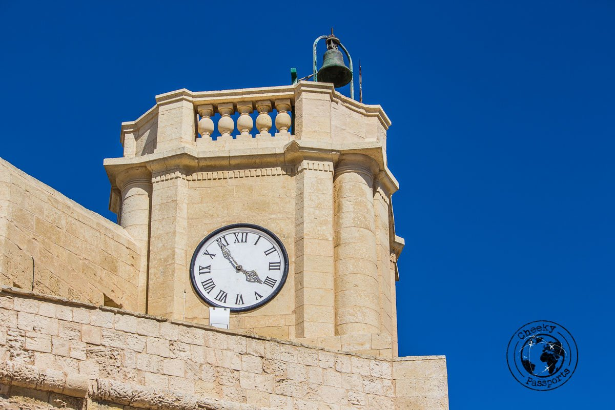 Cittadella clock tower in Gozo