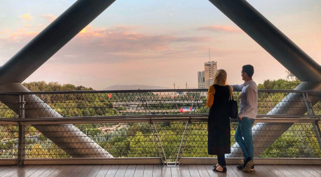 Couple on Tabiat Bridge. Photo Credit Ateke Iranmanesh