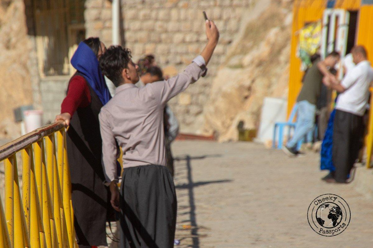 Iranian Youths enjoying a selfie in Palangan