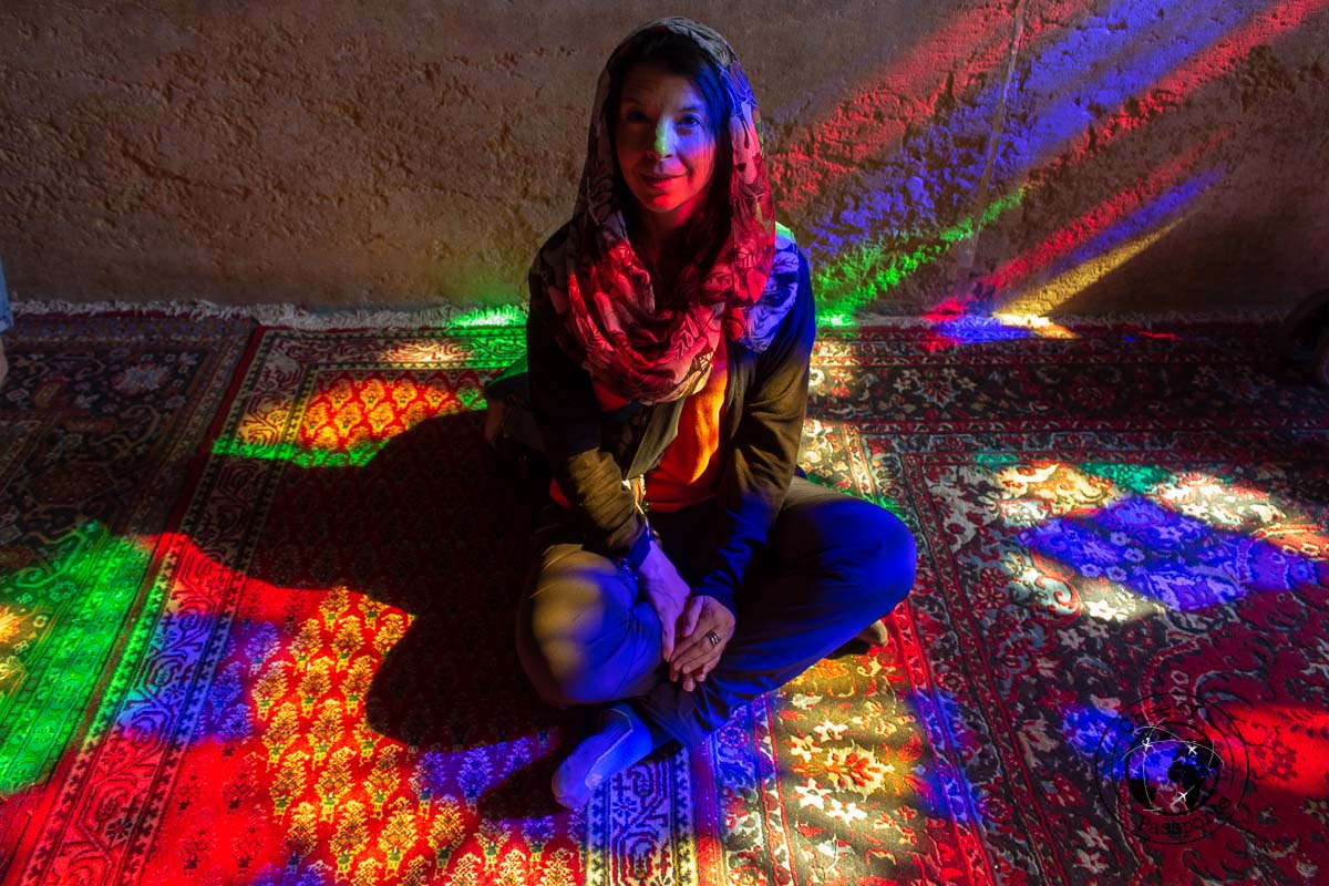 Michelle at the Pink mosque - Iran Travel tips