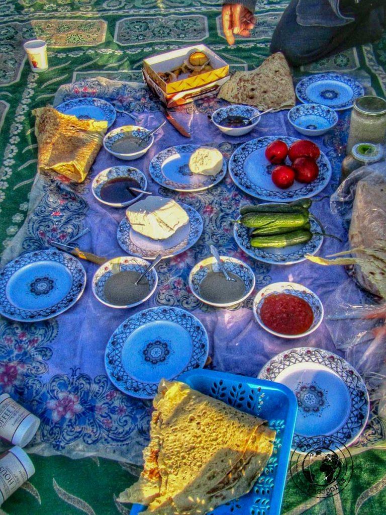 Breakfast at the caravansarai at Varzaneh