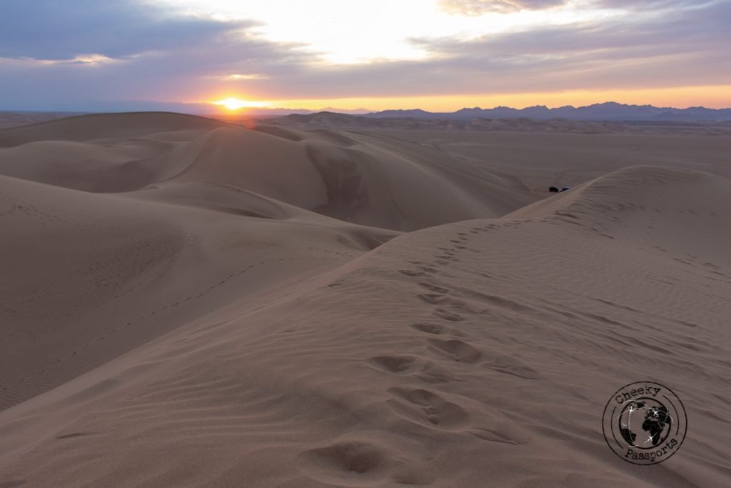sunset at the Varzaneh desert on your iran itinerary