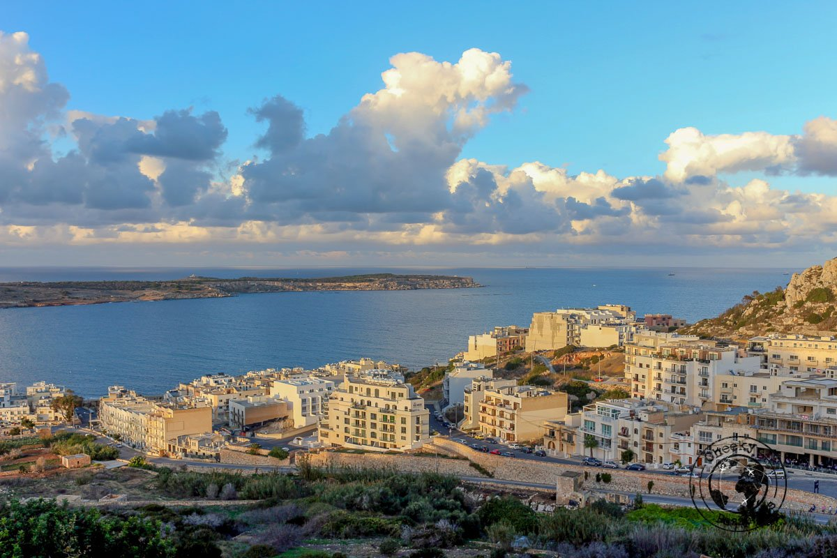 View of Ghadira Bay from Mellieha, Malta