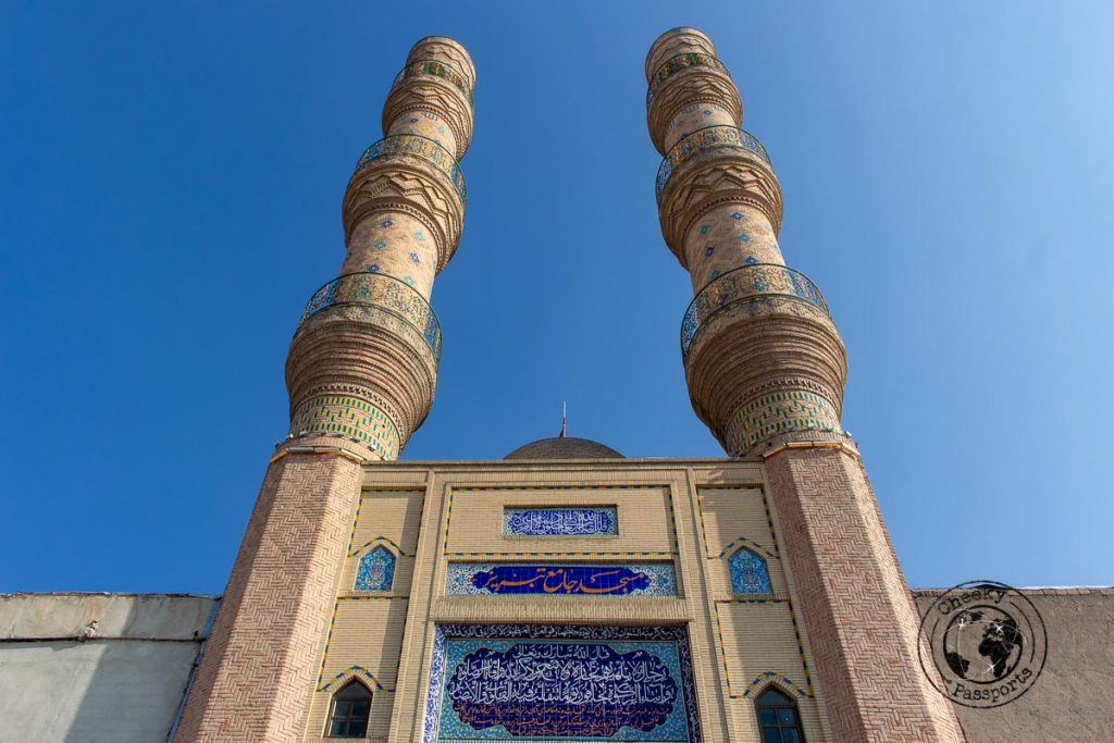 The tall minarets of the Jameh Mosque in Tabriz
