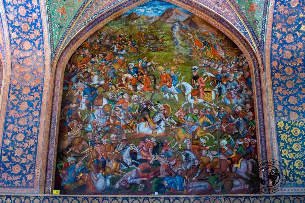 Decorations inside the Chehel Sotoon Palace in isfahan