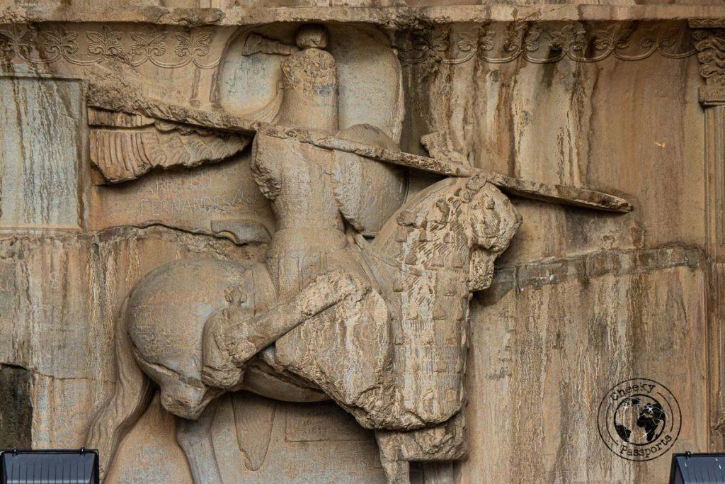 Detail of relief at Taq-e Bostan