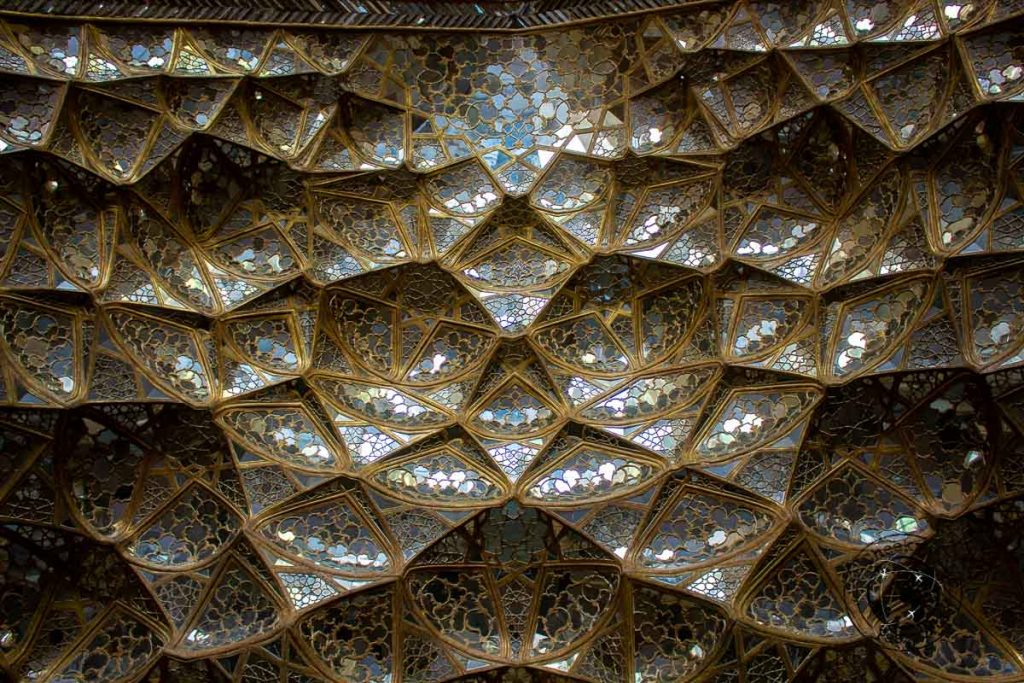 Glass and mirrors decorate the Chehel Sotoon Palace