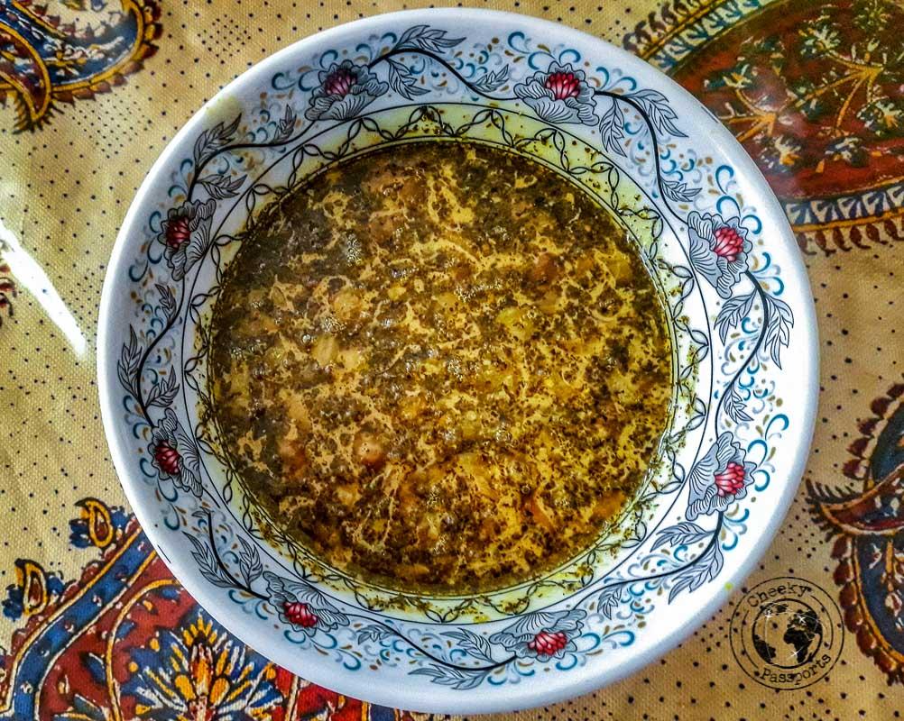 Persian food at the Negaar Varzaneh Guesthouse