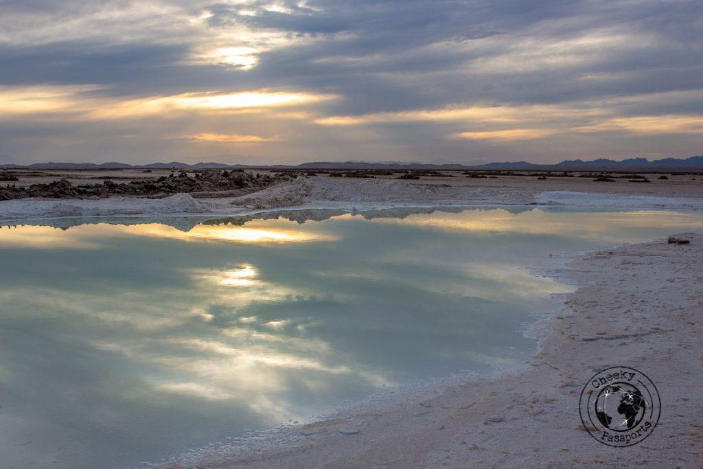 Salt lake at the Varzaneh desert