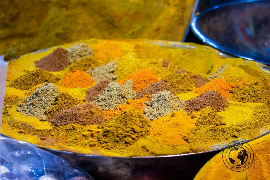 Spices on display at the Bazaar-e Bozorg in Isfahan
