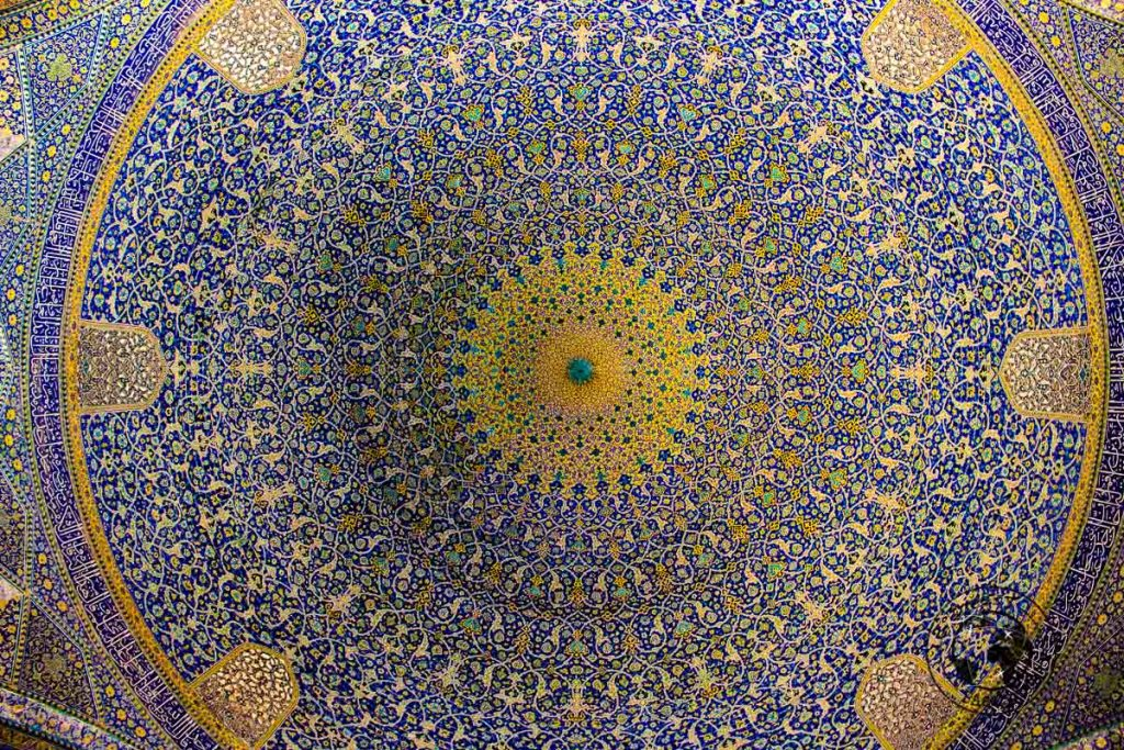 The beautifully intricate decorations inside the Masjed-e Shah (Imam Mosque)