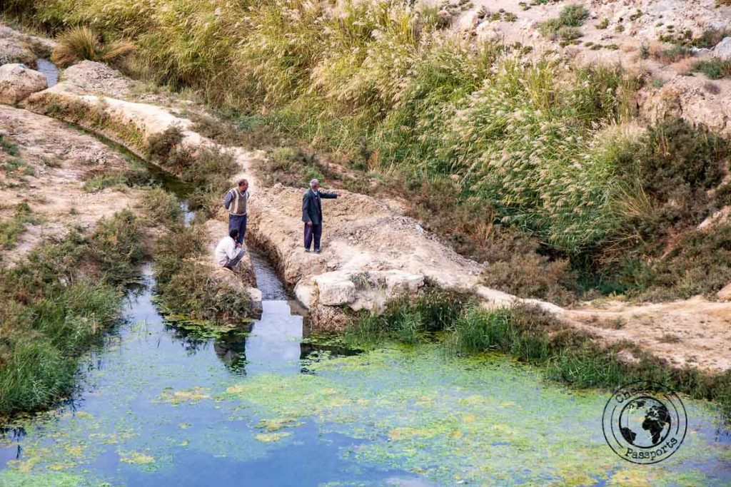 Water courses and locals at the Varzaneh Desert