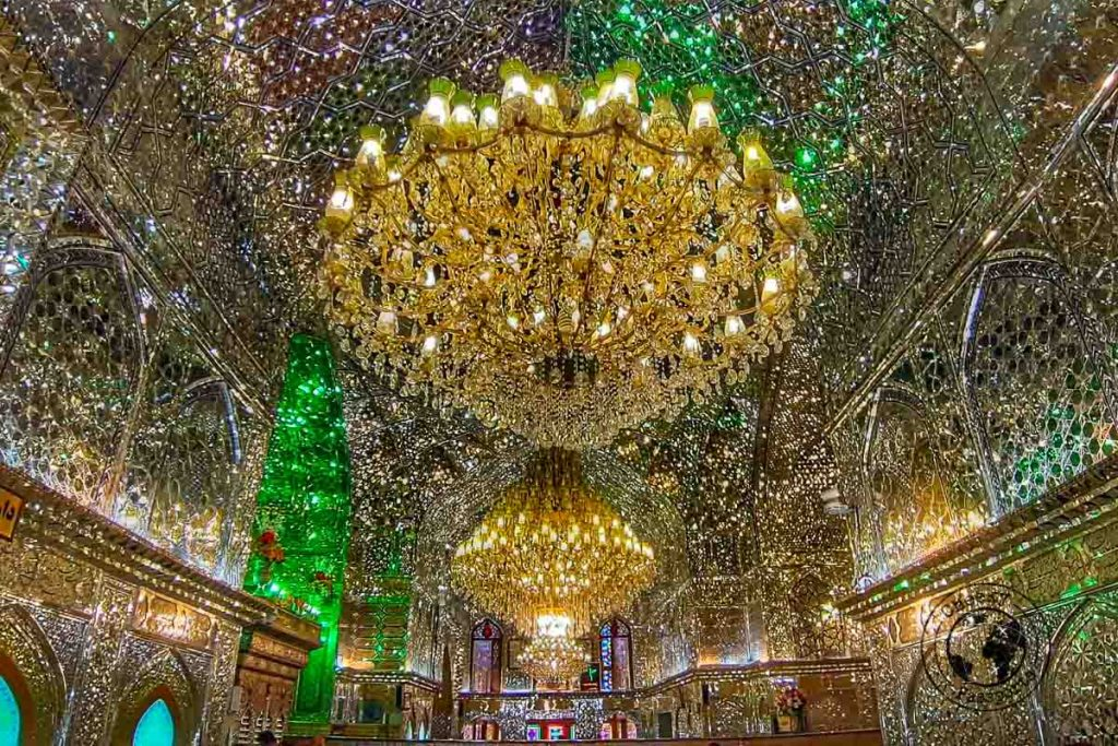 Inside the Shah Cheragh Mosque