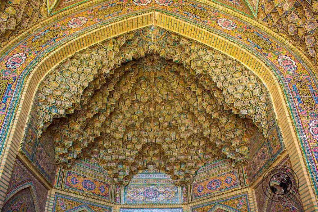 Intricate design of the Pink Mosque