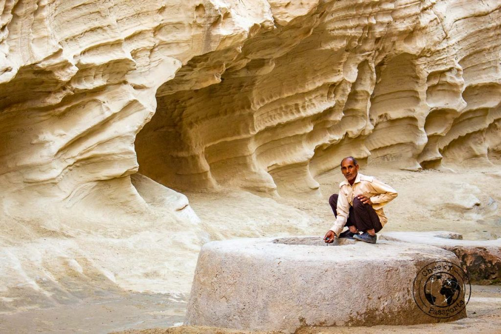Locals at the Chahkooh Canyon in Qeshm island