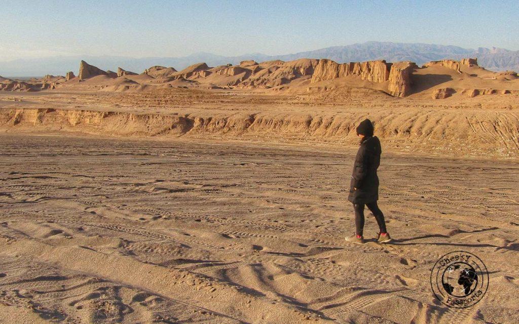 Michelle strolling down the shahdad desert