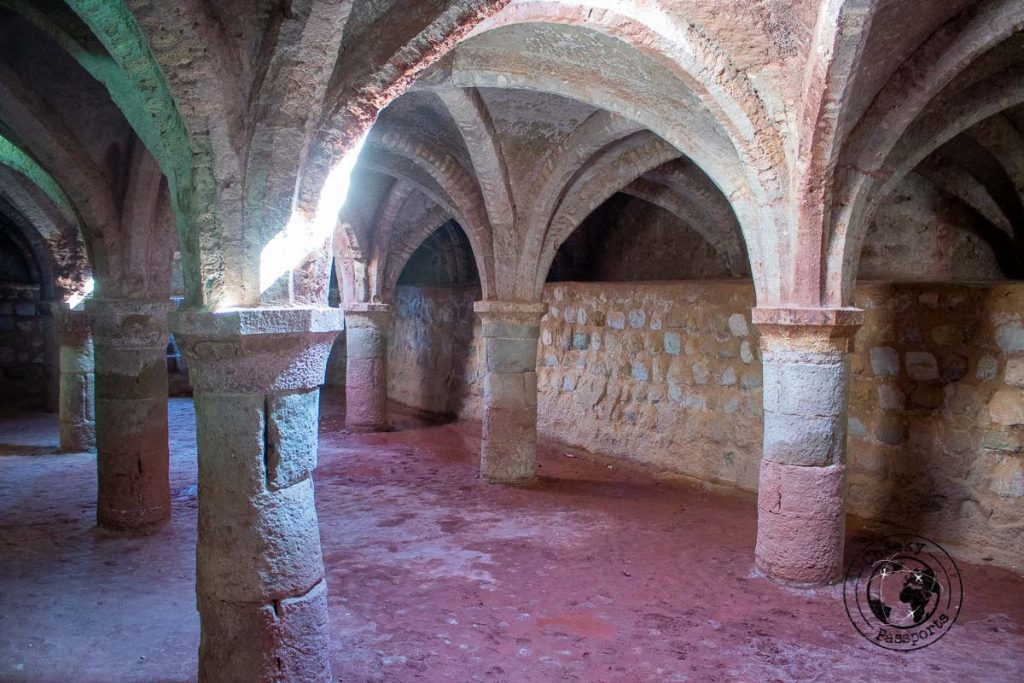 The vaults inside the Portuguese castle during our Iran islands travel