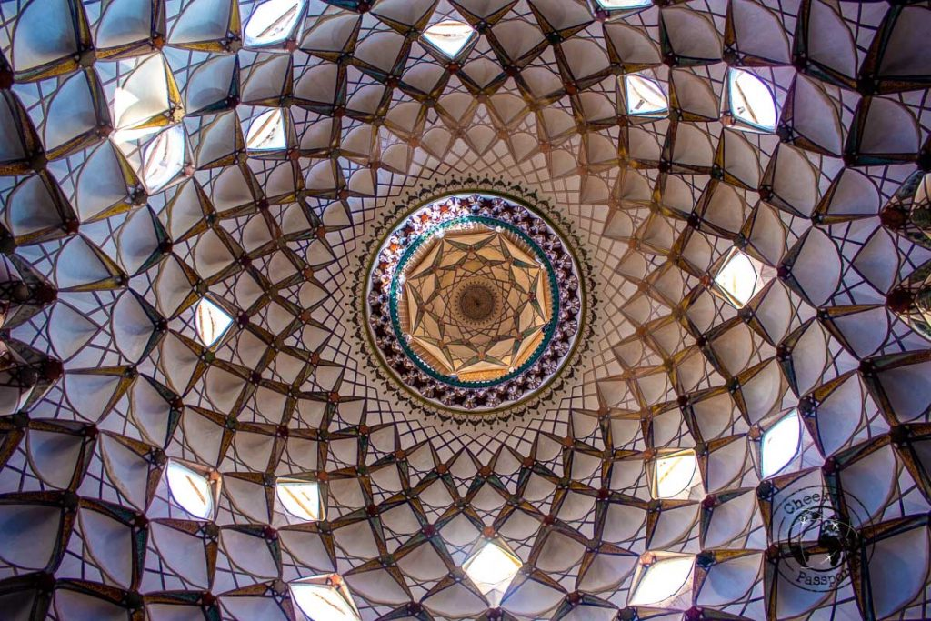 The magnificent dome and ceiling of the Boroujerdi house in kashan iran