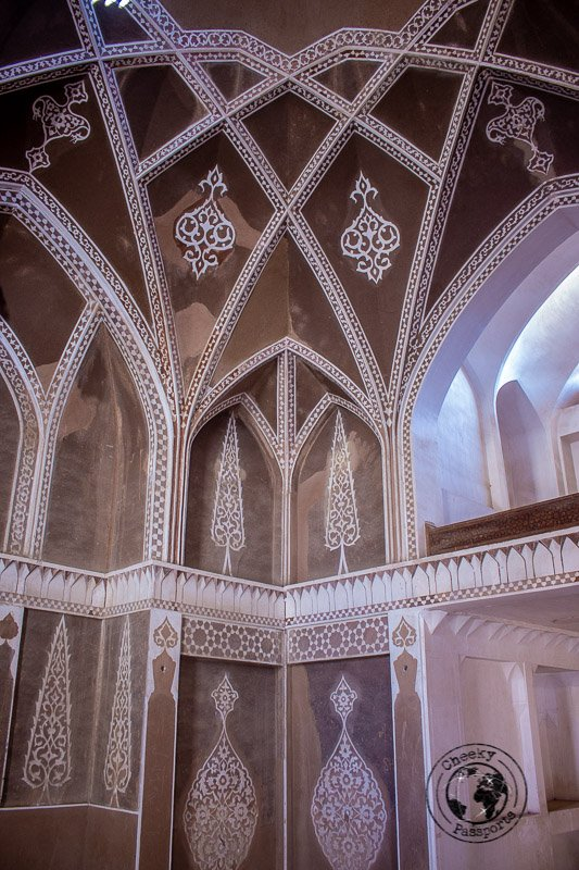 intricate architecture inside the Abbasian house in kashan